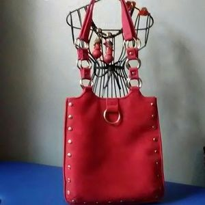 Soul red suede with silver studs & rings purse